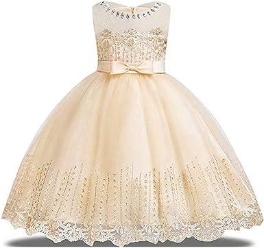 Pageant Graduation Sequin Glitter Double Mesh Flower Girl Dress Wedding Summer