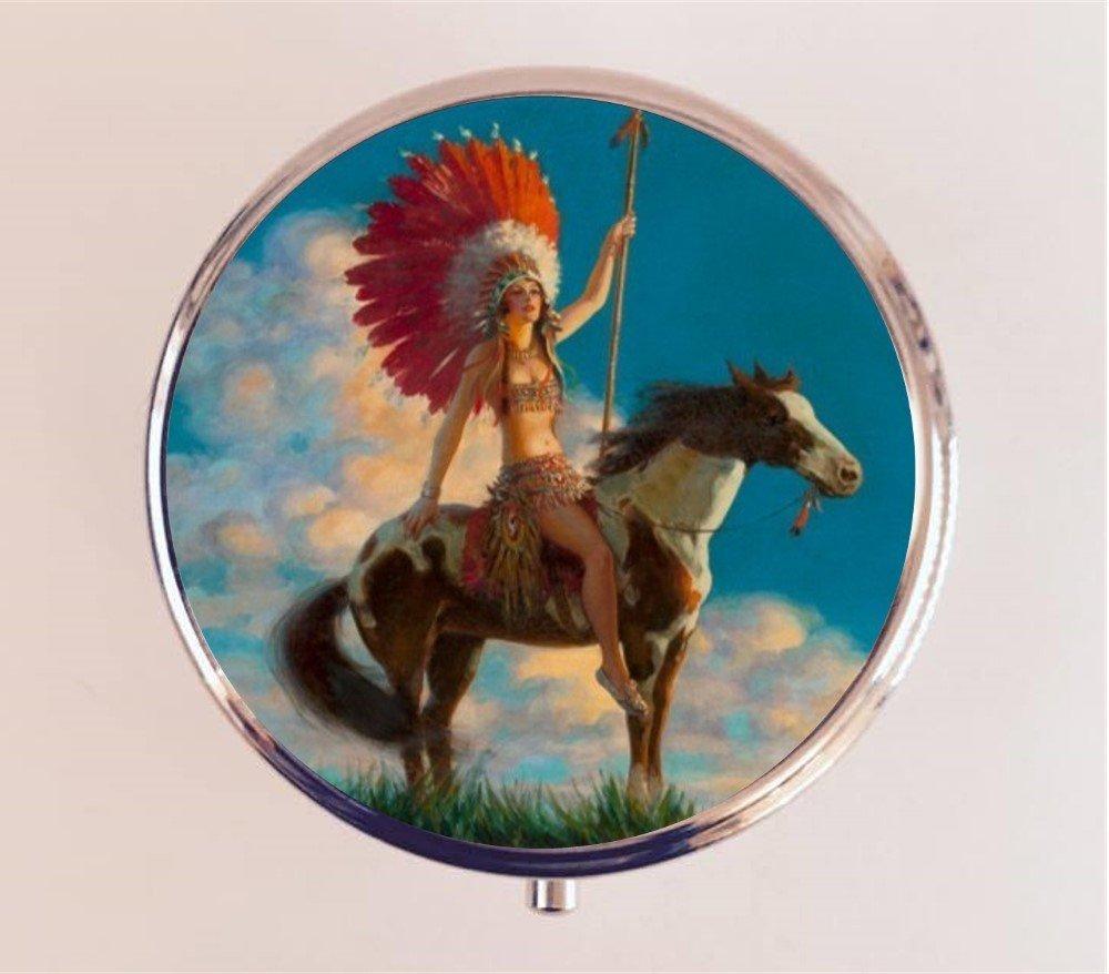 Amazon com: Art Deco Native American Pill Box Pillbox Case