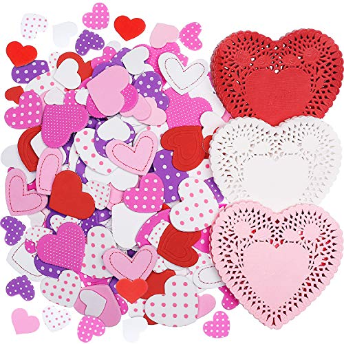 Hotop 300 Pieces Mini Valentine's Heart Doilies and 500 Pieces Foam Heart Stickers Adhesive Stickers for Wedding Decoration Valentine's Day Party (Multi-color)