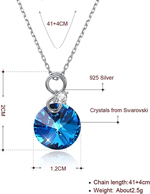Daesar Pendant Necklaces Silver for Women Libra Cubic Zirconia Purple Pendant Necklaces Silver