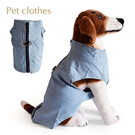 IREENUO - Chaleco impermeable para perro, chaqueta con anilla en D, protector de pecho, chaleco vaquero azul ...