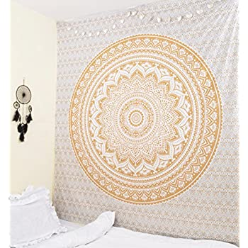 Original Gold Ombre Twin size Tapestry By RawyalCrafts Mandala Hippie Tapestry, Hippie Wall Hanging Tapestries, Bohemian Tapestries, Queen Mandala Home Decor