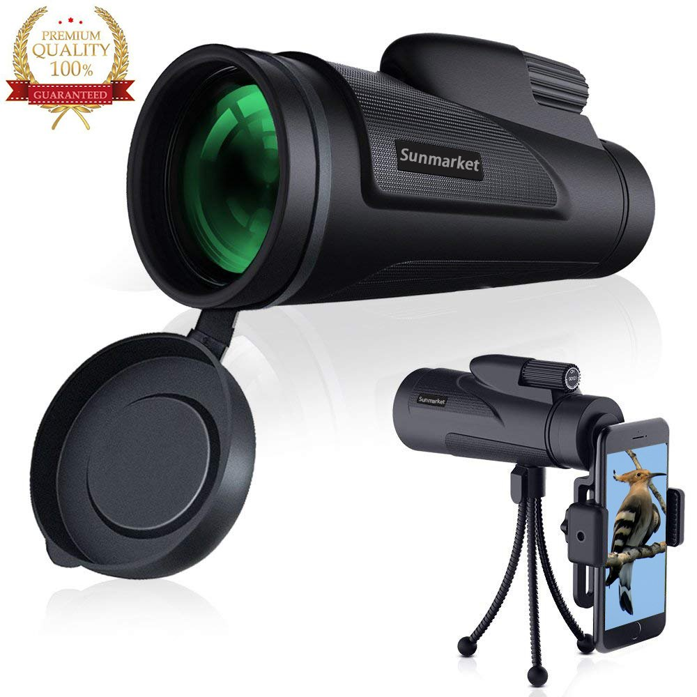 Monocular Telescope 12x50 Monocular Scope Bak4 Prism Telescope with Cell Phone Adapter and Tripod for Hunting Fishing Camping Surveillance by sunmarket