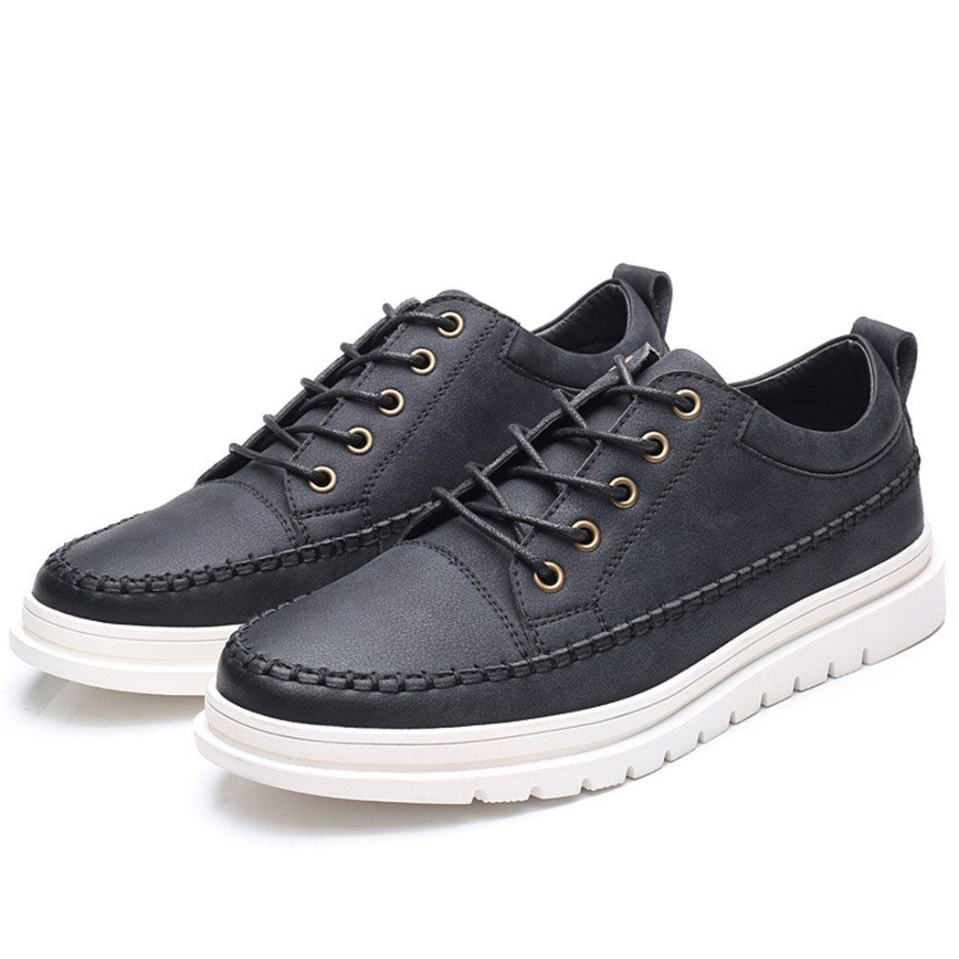 GAOLIXIA Zapatos de cuero ocasionales de los hombres Zapatos de conducción con cordones de la juventud Zapatos del patín de los jóvenes Zapatos de negocios Zapatos de herramientas Negro gris 41|Negro