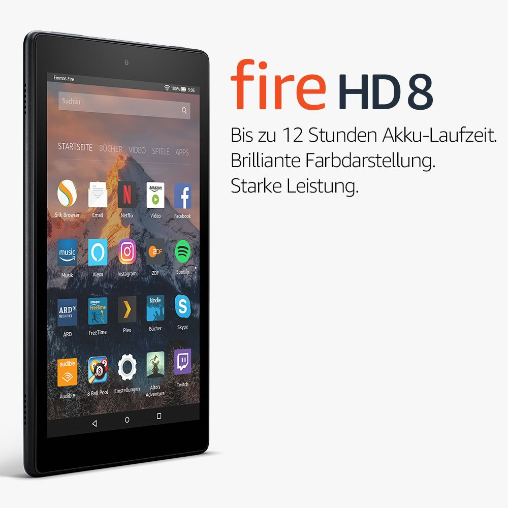 Fire HD 8-Tablet mit Alexa, 20,3 cm (8 Zoll) HD Display, 16 GB (Schwarz),  mit Spezialangeboten (vorherige Generation – 7.): Amazon.de: Amazon Devices