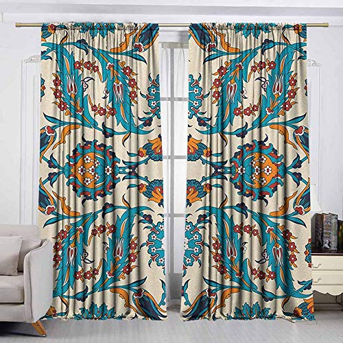 (VIVIDX Bedroom Curtains,Arabesque,Traditional Middle East Floral Classic Bohemian Antique Persian Culture Pattern,Room Darkening Thermal,W63x63L Inches Multicolor)
