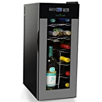 Nutrichef 12 Bottle Thermoelectric Wine Cooler Refrigerator | Red, White, Champagne Chiller | Counter Top Wine Cellar | Quiet Operation Fridge | Touch Temperature Control