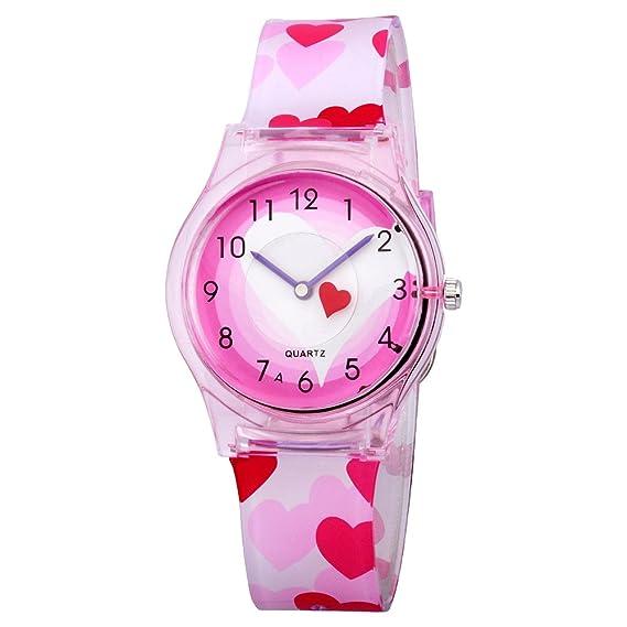 Niños fácil de leer reloj de pulsera, Resina Teen Jóvenes Niñas resina de flores de colores banda relojes: Amazon.es: Relojes