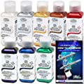 TESTORS - AZTEK Premium PEARL Acrylic Airbrush Paint 8-Color Set & FREE How to Airbrush Manual
