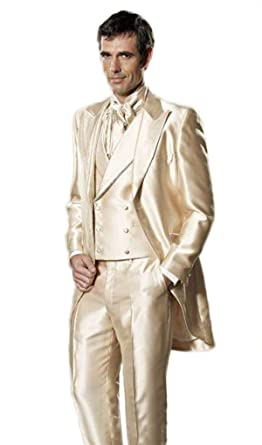 Setwell Golden Satin Elegant Men Suit Wedding Tuxedos For Best Men