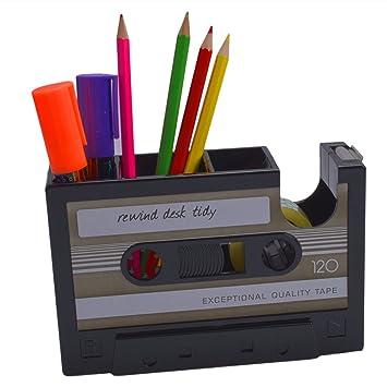 Retro Cassette dispensador de cinta adhesiva portalápices jarrón lápiz bote lápices contenedor organizador de escritorio, negro: Amazon.es: Oficina y ...