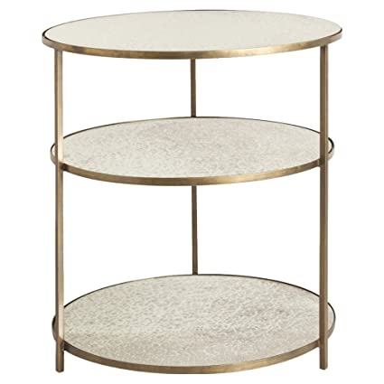 Kathy Kuo Home Weasley Antique Mirrored 3 Tier Brass Side Table