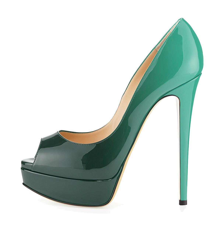 uBeauty Zapatillas Plataforma Mujer Zapatos de Tacon Tallas Grandes Sandalias Sin Cordones 40 EU|Verde-coloreado