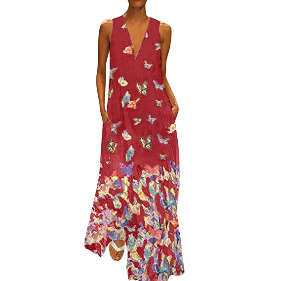 Damen Kleid Tunika Midikleid Freizeitkleid Strandkleid Übergröße 44 46 XL 2XL
