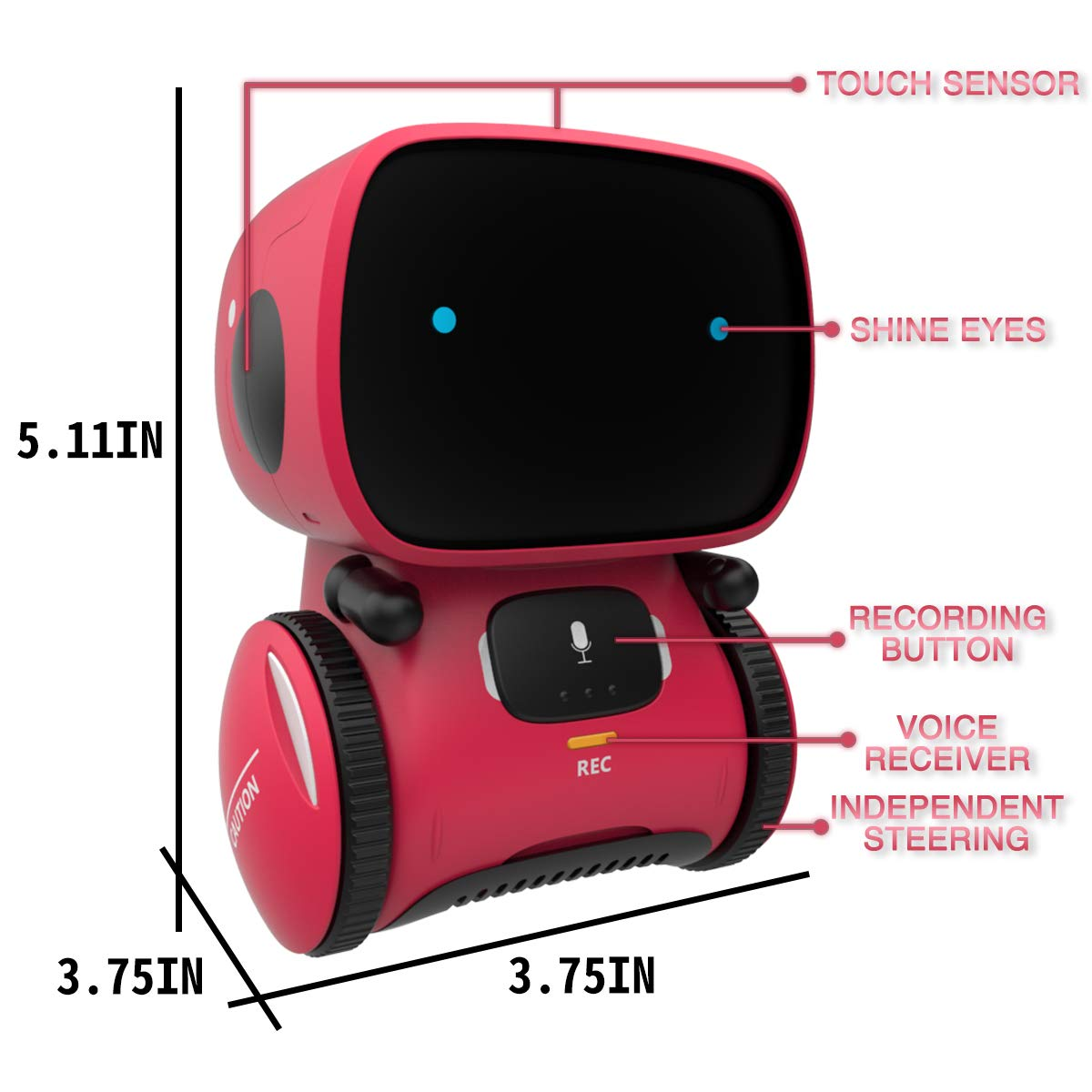 98K Kids Robot Toy, Smart Talking Robots, Gift for Boys and Girls Age 3+, Intelligent Partner and Teacher, with Voice Controlled and Touch Sensor, Singing, Dancing, Repeating by 98K (Image #6)