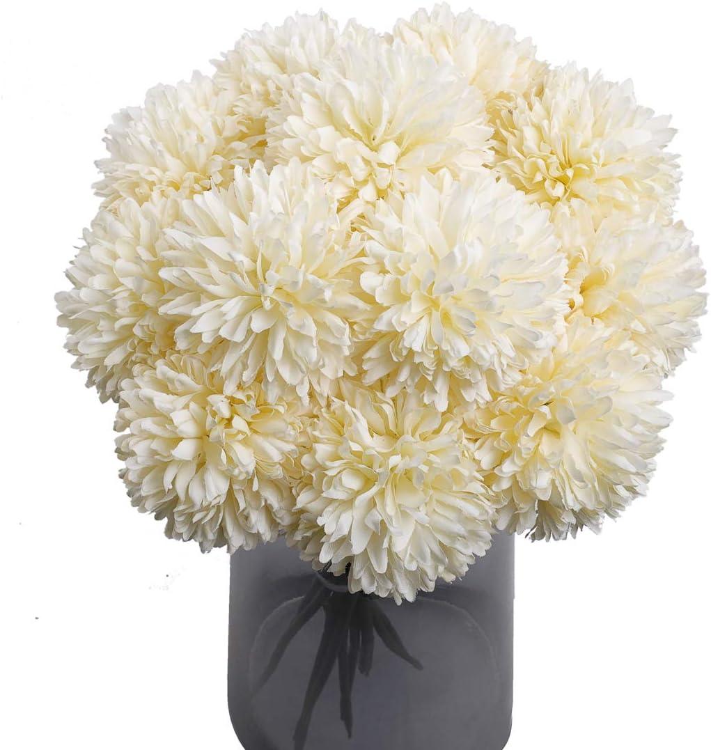 Mossyard 12 Pcs Artificial Chrysanthemum Ball Flowers, Silk Small Hydrangea Bouquets for Home Garden Party Wedding Office Decoration, DIY Floral Arrangements, Centerpieces (Cream White)