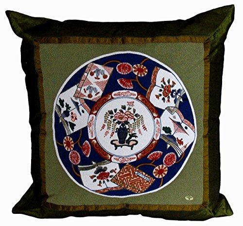 Boon Decor Japanese Throw Pillow Imari Plate Pattern - Vase - Green ()