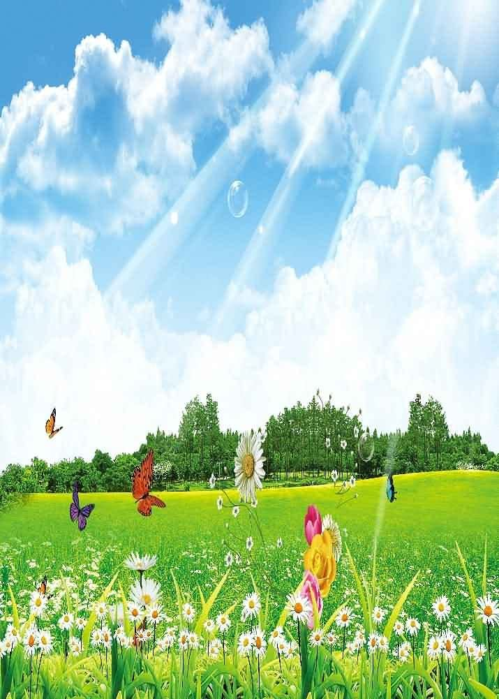GladsBuy Sunny Landscape 5 x 7 Digital Printed Photography Backdrop Flower Theme Background YHA-194