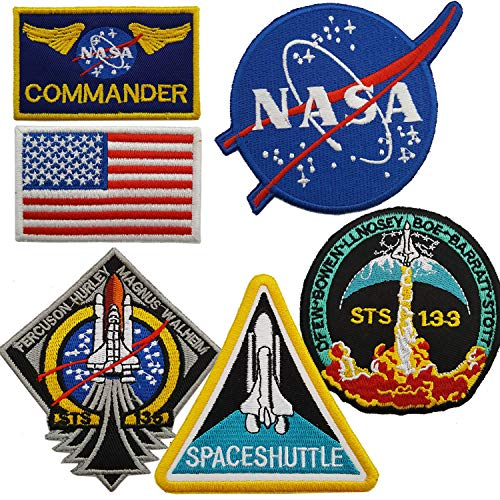 Nasa Patch - Lightbird NASA Space Patches 6 Pieces, Embroidered Iron On/Sew On Space Patches,US Flag Patch (Iron on/Heat Transfer Backing)