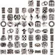 RUBYCA Tibetan Silver Tone Color Spacer Loose Beads Fit European Charm Bracelet Mix 60 Pcs Lot For DIY