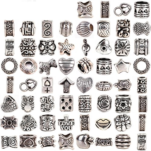 RUBYCA Tibetan Silver Tone Color Spacer Loose Beads Fit European Charm Bracelet Mix 60 Pcs Lot For (Bracelets Beads)