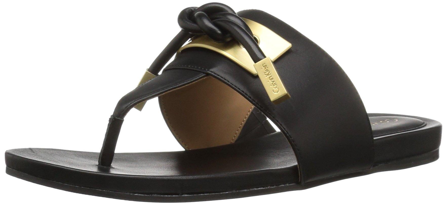 Calvin Klein Women's Parson Toe Ring Sandal, Black, 9 M US