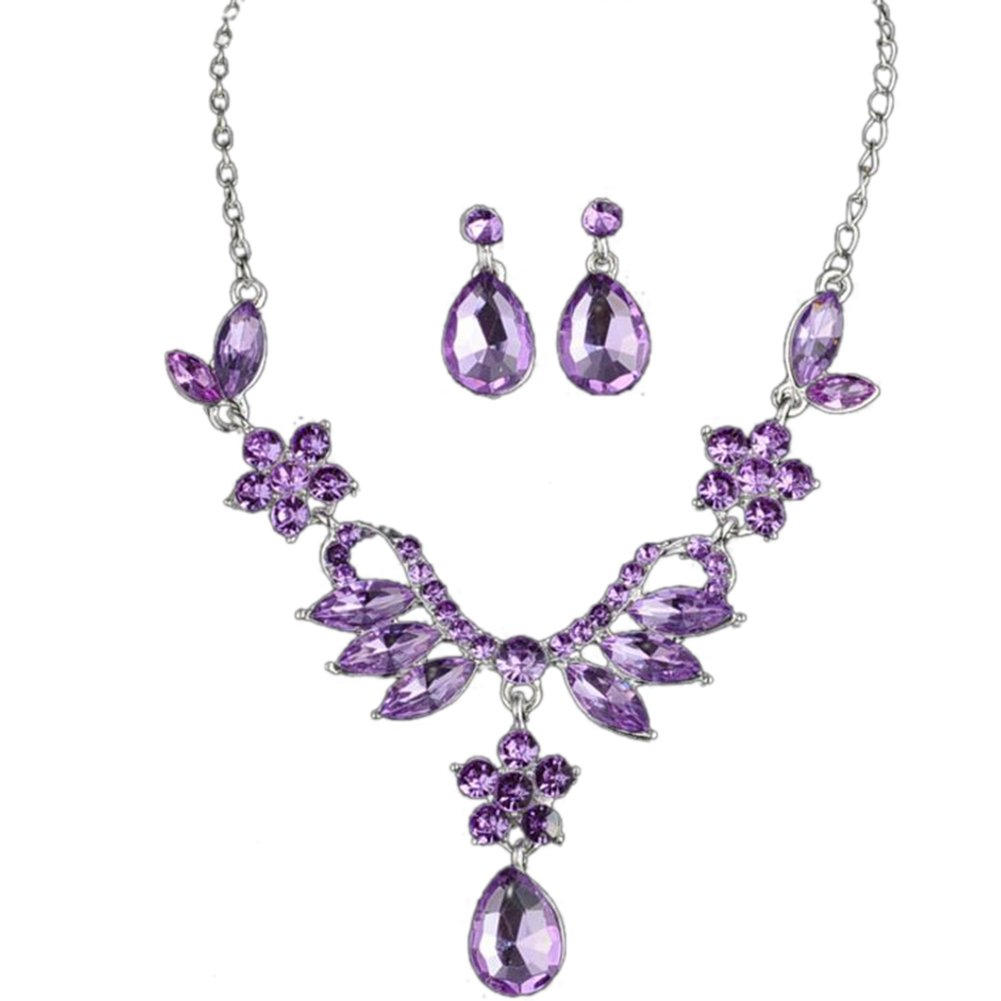 Youkara Diamond Pendant Necklace Earrings Sets Jewelry Sets Accessories Wedding Gift for Women Girls Purple