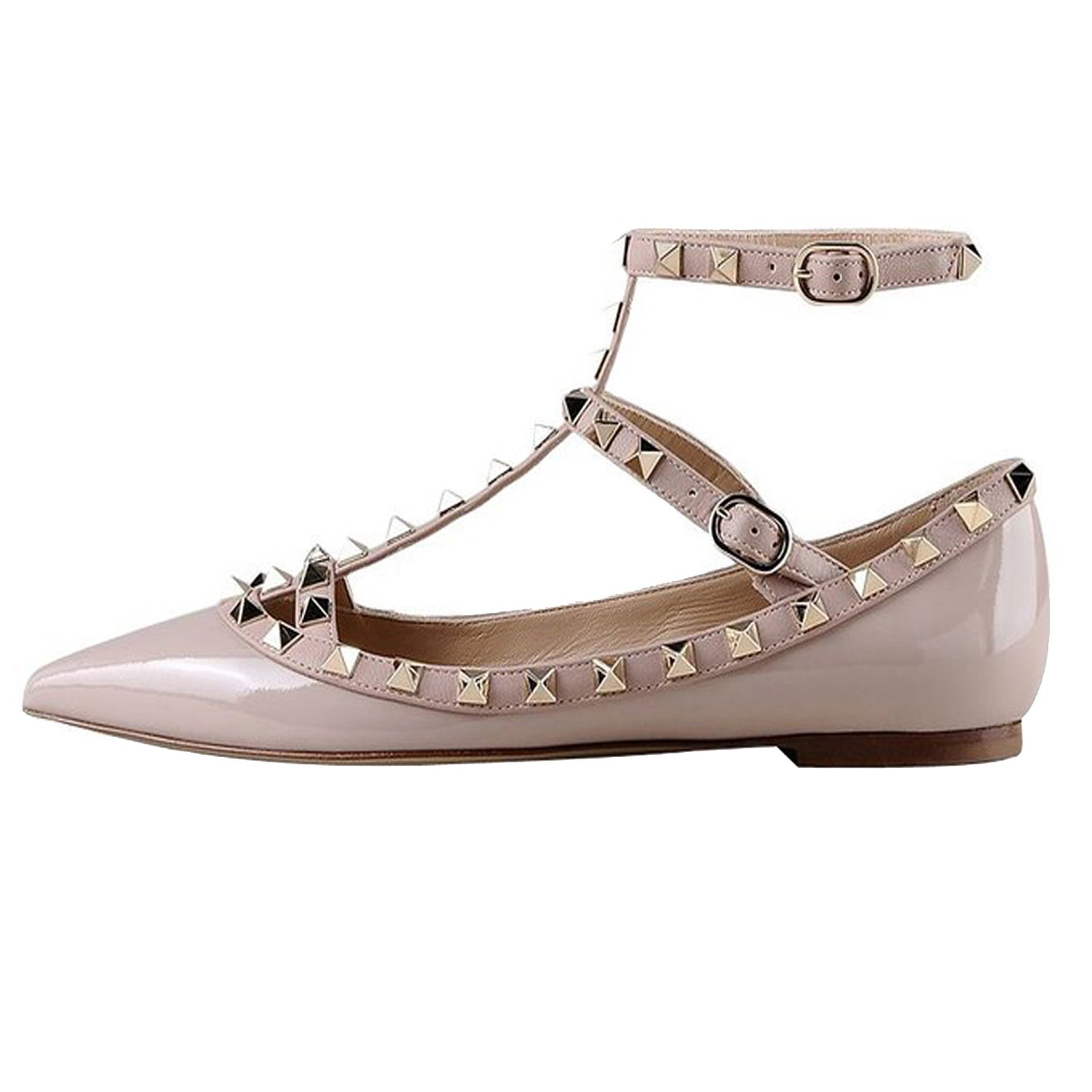 VOCOSI Women's Ankle Strap Studded Pointed Toe Pumps Rivets T-Strap 10 Flat Pumps Dress B0794PKTFQ 10 T-Strap B(M) US|Apricot(manmade Patent Leather With Gold Rivets) c9b663