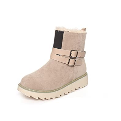 Women's Low-Heels Frosted Low-Top Assorted Color Pull-on Snow-Boots
