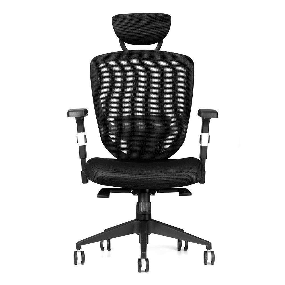 Moustache ® Adjustable High-Back Bonded Leather Swivel Office Executive Chair with Armrest, Arms Rest Task Computer Desk Basic Chair, Black