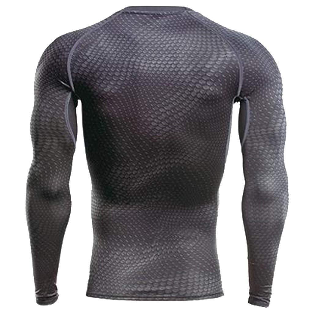 Allywit Mens Athletic Compression Sport Running Bodybuilding Long Sleeve T Shirt