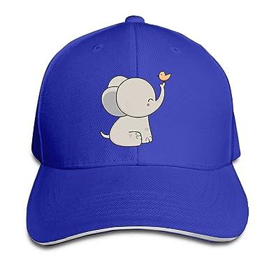 Uooks Yo Men Womens Plain Baseball Cap Kawaii Cute Elephant And Bird