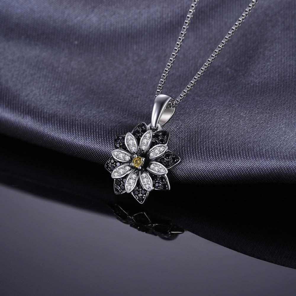 VERA NOVA JEWELRY Flower 0.03Ct Black Spinel Round-Shape Sterling Silver Pendant Necklace with 18-inch Box Chain