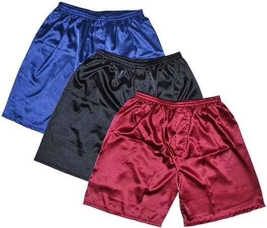 HIUGHJ Pijamas Hombres Satén Seda Boxers Pijama Pantalones Cortos Pantalones Cortos Combo Pack Ropa Interior Pijamas para Hombres Pantalones de Dormir: Amazon.es: Hogar