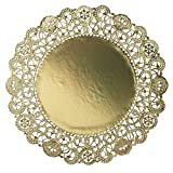 Hoffmaster GO910SP Brooklace Gold Foil Round Lace Doily, 10'' Diameter (Case of 500)