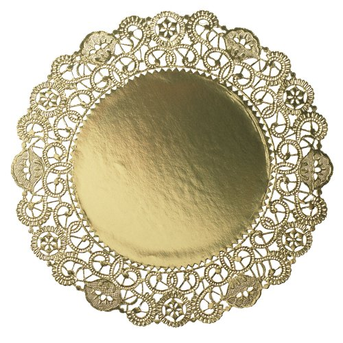 Hoffmaster GO910SP Brooklace Gold Foil Round Lace Doily, 10'' Diameter (Case of 500) by Hoffmaster (Image #1)