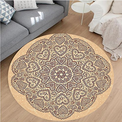 - Nalahome Modern Flannel Microfiber Non-Slip Machine Washable Round Area Rug-t And Tulip Motifs Antique Floral Oriental Asian Vintage Styled Boho Chic Chocolate Beige area rugs Home Decor-Round 28
