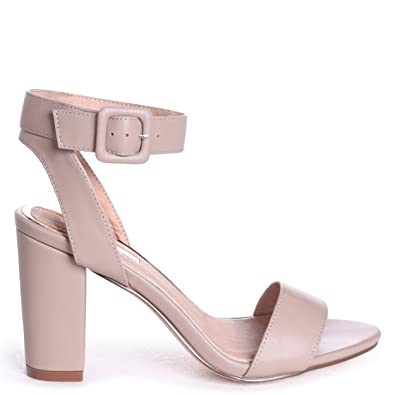 7706a53777 Linzi Millie - Taupe Open Toe Block Heel With Ankle Strap and Buckle  Detail: Amazon.co.uk: Shoes & Bags