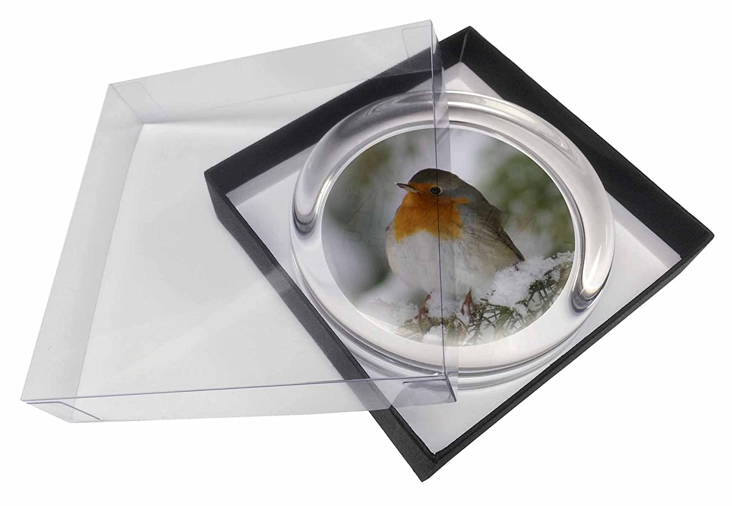 AB-R16PW Robin Red Breast in Snow Tree Glass Paperweight in Gift Box Christmas