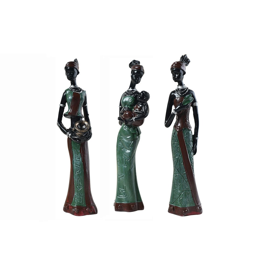 TBW African Tribal Women Collectible Figurines for Mother's Gifts,Green,Pack of 3