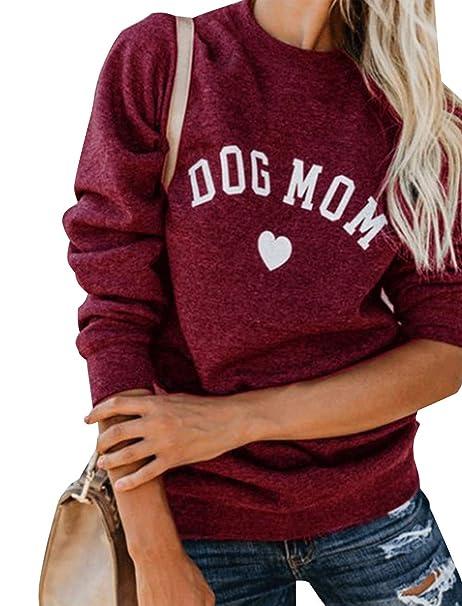 c6c8a8e5e Amazon.com: Womens Dog Mom Sweatshirt Casual Long Sleeve Funny Cute Letter  Print Graphic Pullover Tops Sweatshirt: Clothing