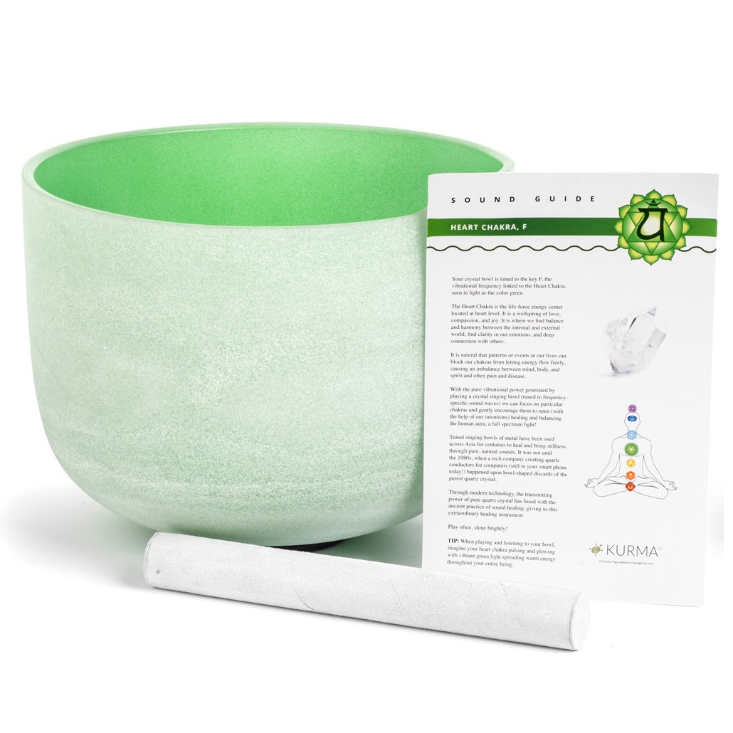Green Crystal Singing Bowl F Note Heart Chakra, Suede Mallet Included, Highest Quality Sound and Material (10 Inch)