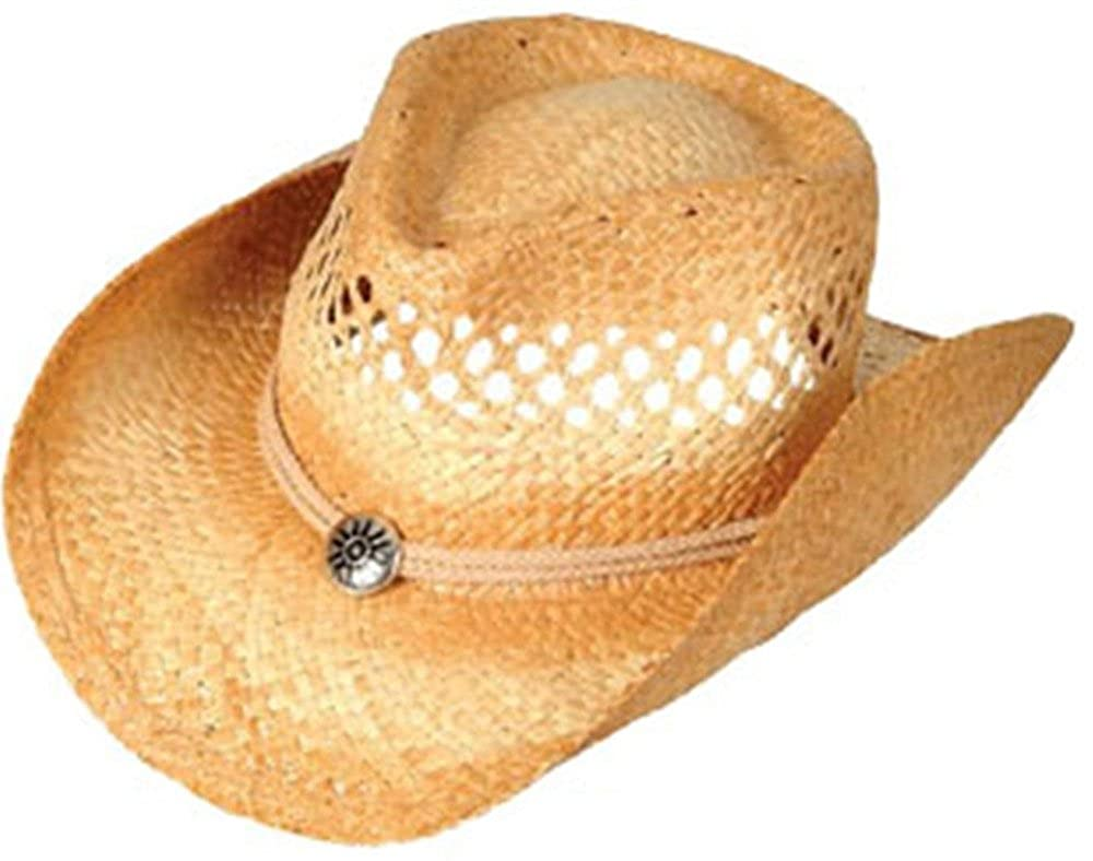 98c300a3957 Amazon.com  Vented Tea Stained Straw Cowboy Hat  Clothing