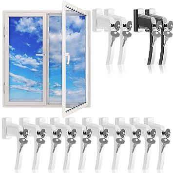 Fenstergriffe abschließbar 10x aus Aluminium weiß inkl. Schlüssel - Fenstersicherheitsgriff abschließbarer Fenstergriff Kinde
