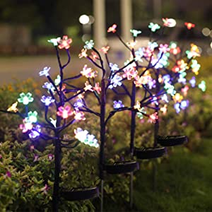 Jack & Rose Solar Lights Outdoor Decorative Solar Garden Lights, 4 Pack Beautiful 20 LED Fairy Flower Lights, Solar Powered Outdoor Lights Multi-Color Yard Lights for Walkway Patio Yard Garden Lawn