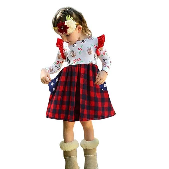 PAOLIAN Vestidos para bebé Niñas Manga Larga Otoño 2018 Vestidos bebé Niñas con Bolsillo Estampado de Cuadros Monos Recién Nacidos Fiestas Ropa para Niñas ...