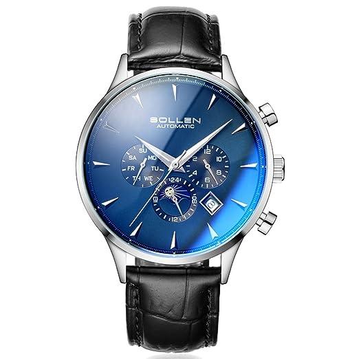 sollen hombre Multi funciones azul de cristal resistente al agua reloj de pulsera, automático Show FECHA/semana/calendario/MES SL-303: Amazon.es: Relojes