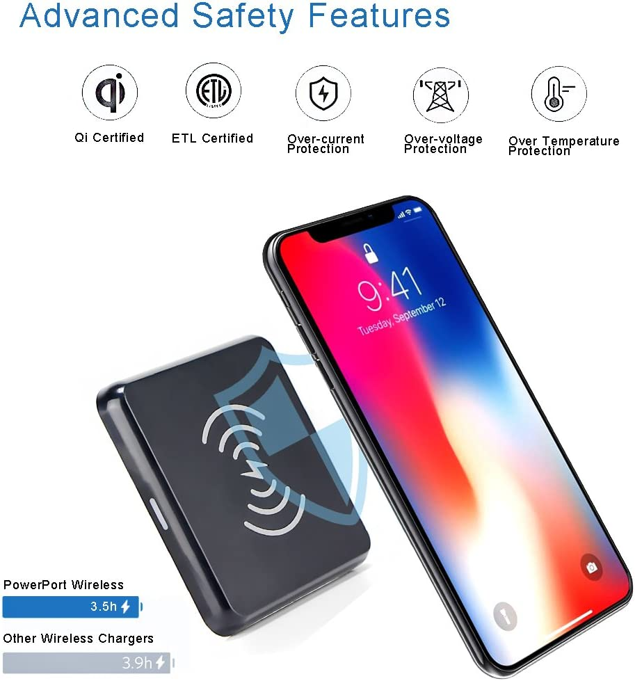Black Bravo Maker Qi Wireless Charger Pad with Anti-Slip Rubber for iPhone Xs Max//XR // XS//X // 8//8 Plus Samsung Galaxy Note 8 // S8 // S8 Plus S7 // S7 Edge and Qi-Enabled Devices