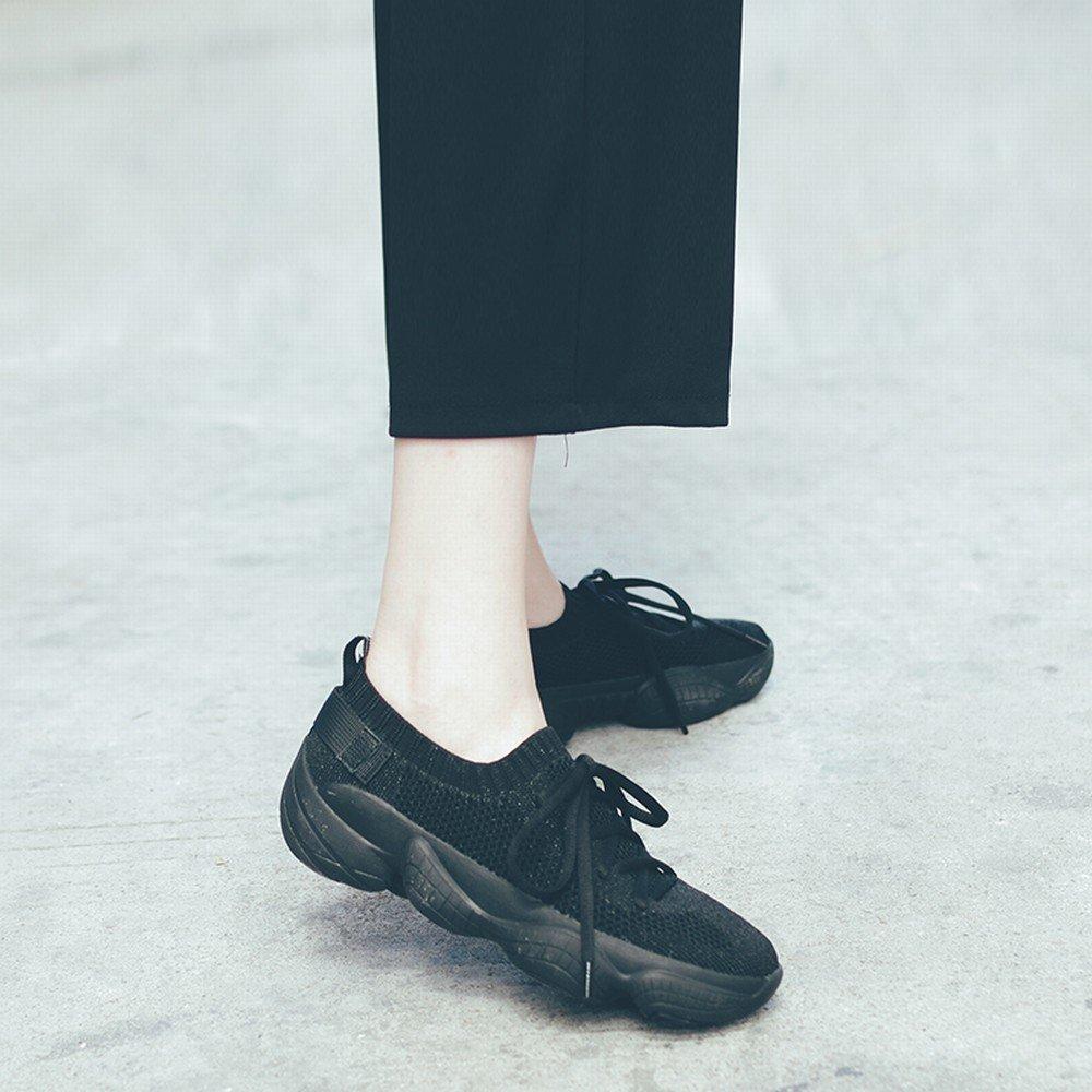 DIDIDD DIDIDD DIDIDD Mesh Atmungsaktive Spitze Lässig Laufenden Dicken Boden Muffin Frauen Schuhe Schwarz 37 24799b