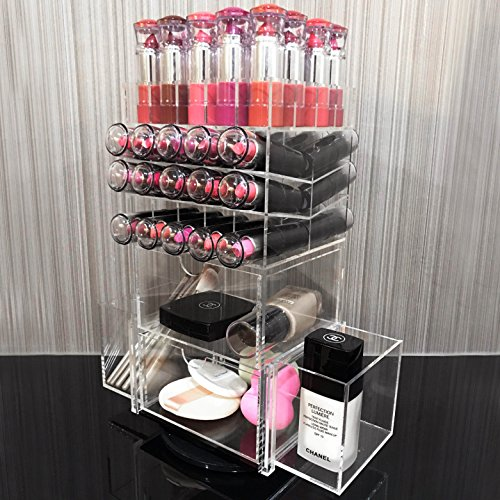 Ikee Design Rotating Acrylic Makeup Organizer 50 Lipsticks Tower Brush Holder Cosmetic Storage
